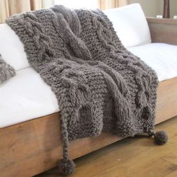 Boho Super Chunky Knitted Wool Throw